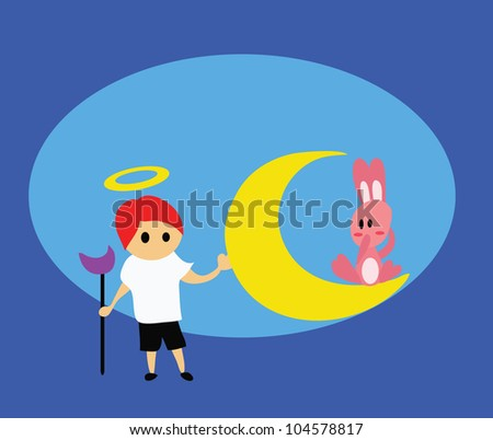 Vector - God and rabbit.Concept:I'll  protect you. - stock vector