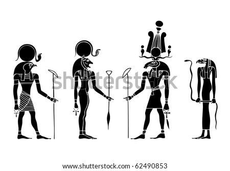vector gods of ancient Egypt - Ra, Khensu, Bastet - stock vector