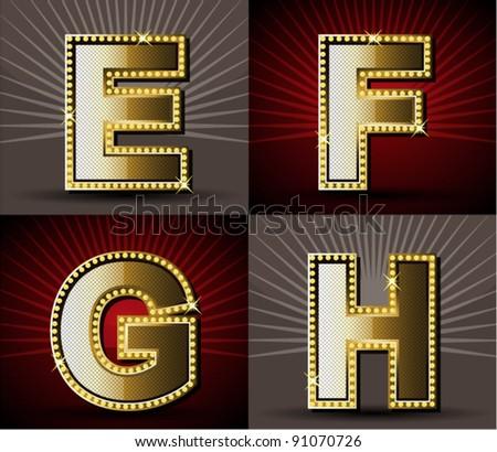 Vector Gold Alphabet With Diamond