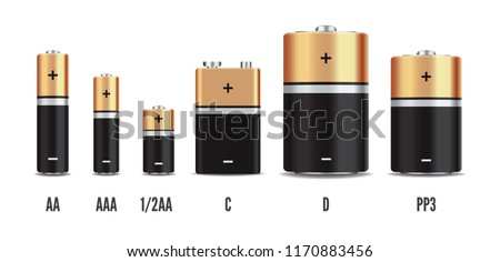 Vector gold and black realistic alkaline battery set, diffrent size isolated on white background. Vector Vector battery set,