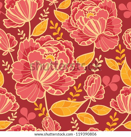 Vector gold and red flowers elegant seamless pattern background