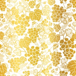 Vector Gold and White Grapevines Fruit Repeat Seamless Pattern Background. Can Be Used For Winde Tasting stationery, Wine bottles, Fabric, Wallpaper, Invitations, Packaging. Surface pattern design.