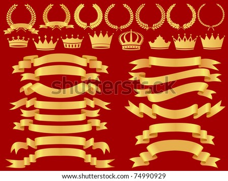vector gold  banner,laurel  wreath and crown set
