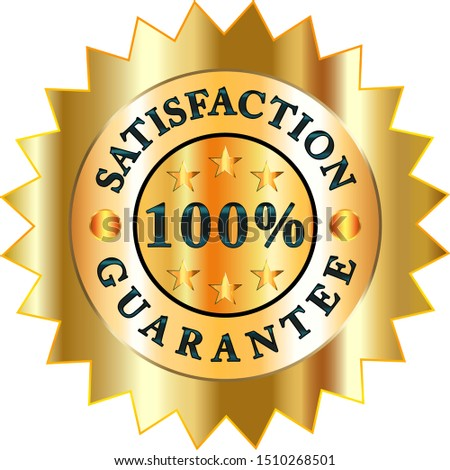 Vector.Gold, business logo. Provision of services, one hundred percent guarantee of customer satisfaction