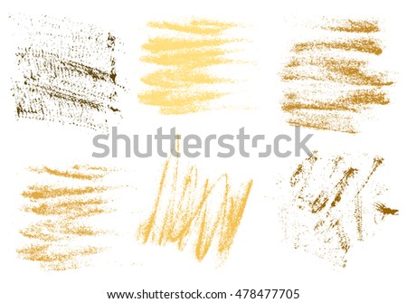 Vector gold charcoal hand drawing abstract on white background set, golden chalk brush stroke design art, pastel gold, golden color grunge texture pattern, drawing chalk on chalkboard