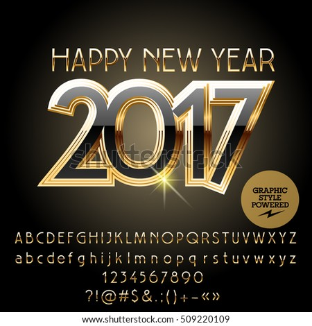 Picnetz Vector Gold Chic Happy New Year 2017 Greeting Card With