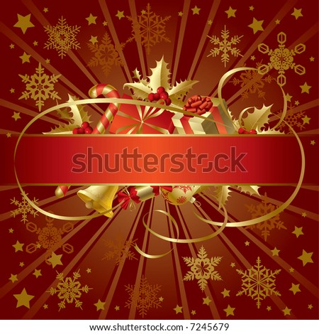 Vector gold Christmas banner