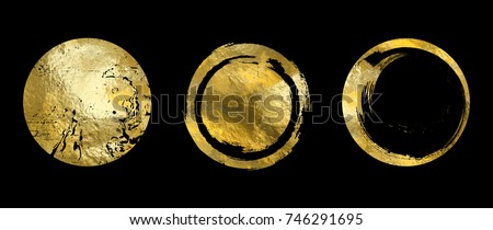 Vector gold circle frame set