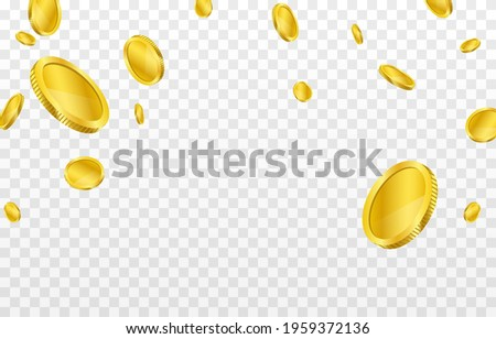 Vector gold coins fall from the sky. PNG money, png coins. Explosion of coins on isolated transparent background. Easy Money.