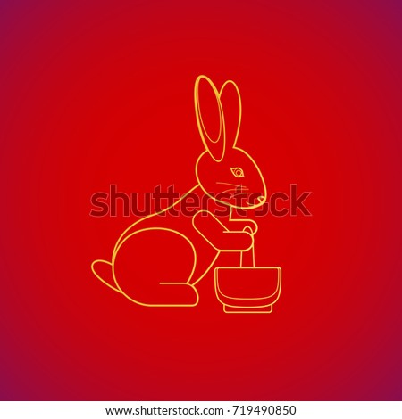 vector gold color traditional Chinese moon rabbit pounding the elixir of life yellow contour illustration design on red background