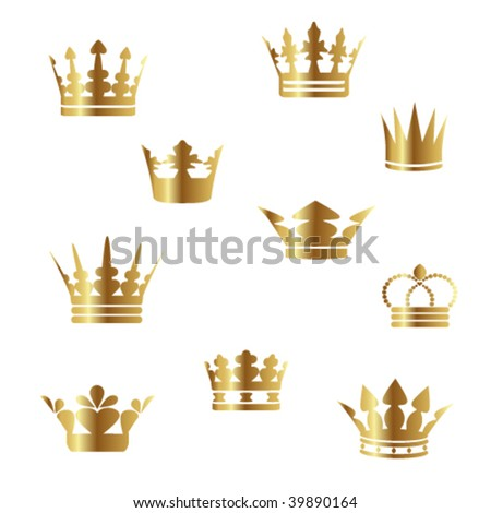 Vector gold crowns - stock vector