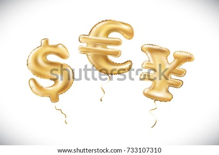 vector Gold dollar euro yen symbol alphabet balloons, money and currency, Golden number and letter balloon art