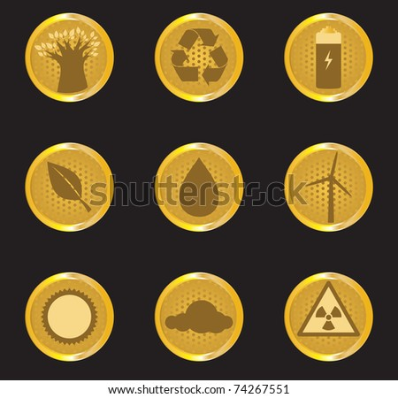 Vector Gold Energy Icon Set