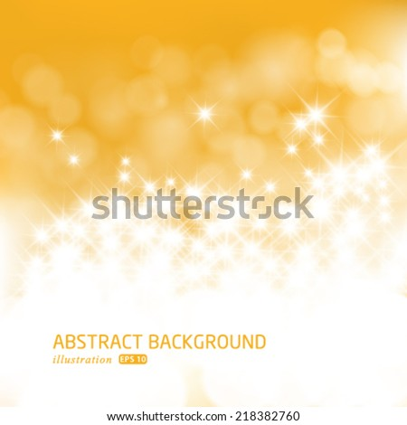 Vector gold festive Christmas background. Elegant abstract background with bokeh defocused lights and stars.
