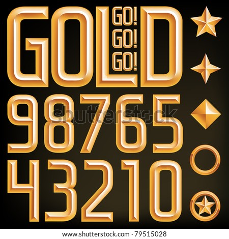 Vector gold font numbers and elements, find the full alphabet by clicking on my portfolio, thank you.