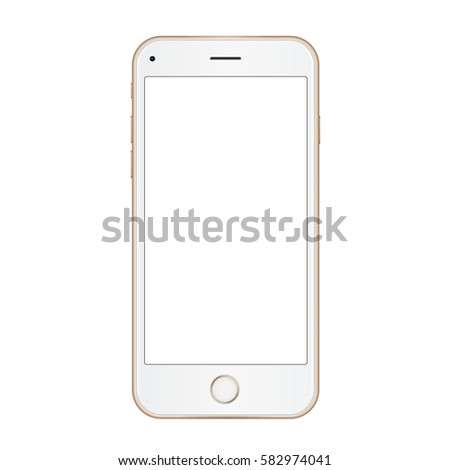 Vector gold frame mobile phone with empty screen. Vector realistic illustration.