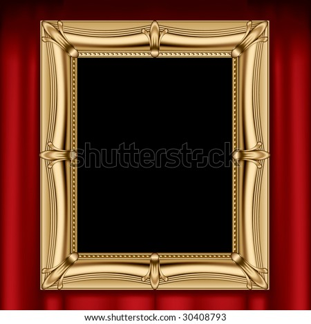 Vector gold frame on a red curtain