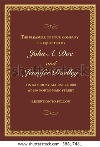 Vector gold frame with sample text. Perfect as invitation or announcement. All pieces are separate. Easy to change colors. - stock vector
