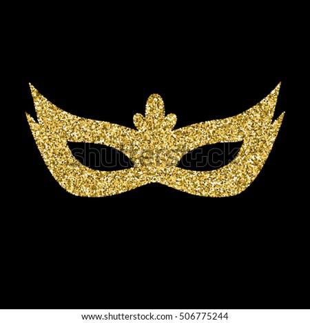 vector gold  glitter mask