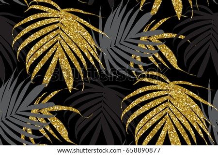 vector gold glitter palm leaf