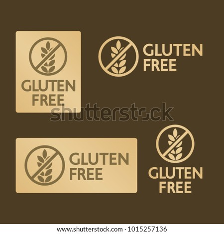 Vector gold gluten free logo icons isolated