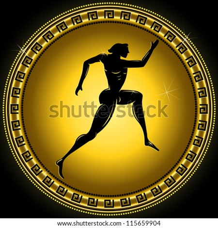 Vector gold gradient athletic illustration with black silhouette