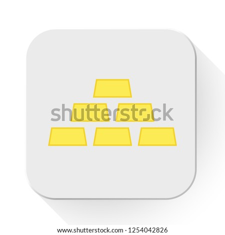 vector gold icon. Flat illustration of gold brick. golden treasure isolated on white background. golden bars symbol