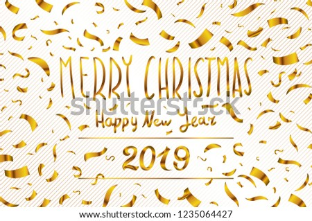 vector gold merry christmas happy new year 2019 greeting card of glitter gold confetti on premium