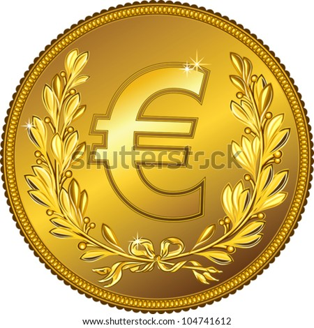 vector gold Money euro coin with a laurel wreath