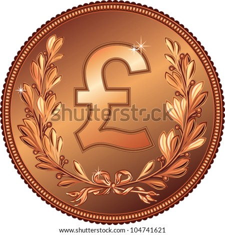 vector gold Money Pound coin with a laurel wreath