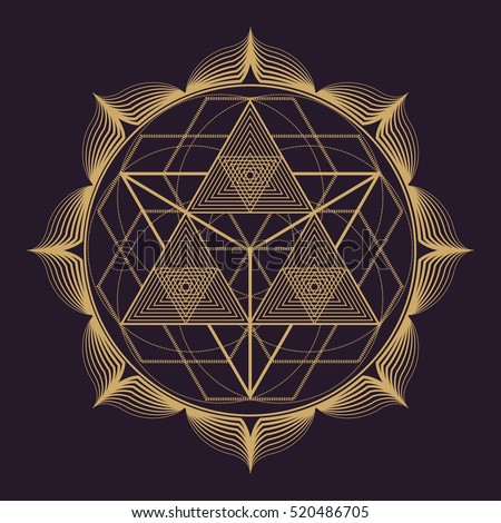 vector gold monochrome design abstract mandala sacred geometry illustration triangles lotus isolated dark brown background
