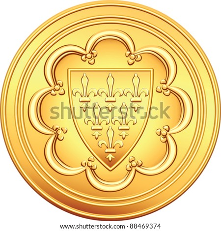 vector gold obverse old French coin with the image of the shield bearing a coat of arms - the first ecu, issued by Louis IX of France - stock vector