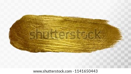 Vector gold paint brush stroke, hand drawn art illustration. #1141650443