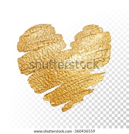 vector gold paint heart on