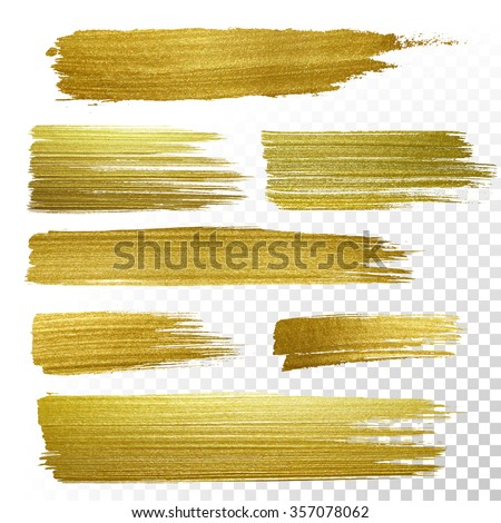 Vector gold paint stroke set