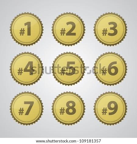 Vector gold pressed number badges.