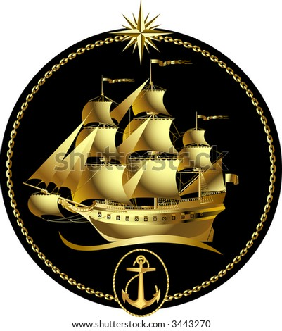 Vector gold sailing ship with a wind rose and an anchor