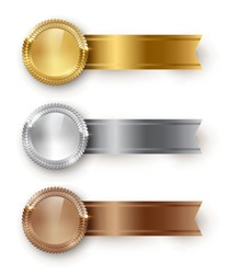 Vector gold, silver, bronze blank medals and horizontal ribbons with text space isolated on white background