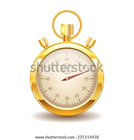 Vector gold stopwatch on white background. Eps10