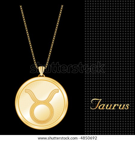 vector, GOLD TAURUS PENDANT, engraved,  with gold chain, for the astrology Earth Sign, Taurus, with a textured black background. EPS8 compatible.