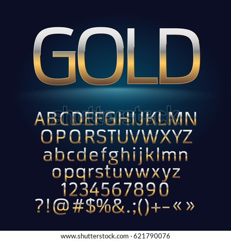 Vector golden alphabet letters, symbols, numbers. Contains graphic style #621790076