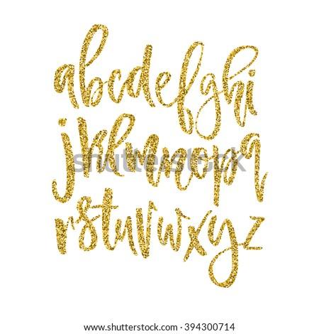 Vector golden alphabet. Unique brushed font with golden glitter.