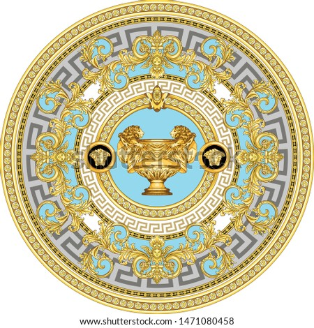 Vector Golden Baroque Fashionable mandala in vintage style with medusa head, cup king lion. Pattern for textile, scarves, design and backgrounds.