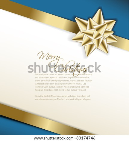 Vector golden bow on a ribbon with white and blue background -Christmas card