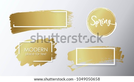 Vector golden brush stroke, brush, line or texture. Dirty artistic design element, box, frame or background for text.