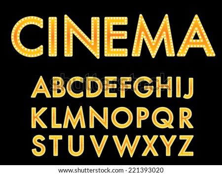 Vector golden cinema font.