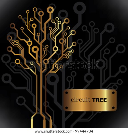 Vector golden circuit tree background