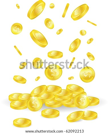 vector golden coins with dollar sign