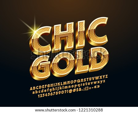 Vector Golden 3D Font. Rotated chic  Alphabet Letters, Numbers and Symbols.