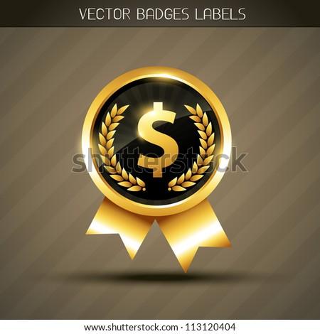 vector golden dollar symbol label - stock vector